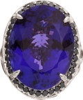 Estate Jewelry:Rings, Michael Beaudry Tanzanite, Diamond, Gold Ring. ...