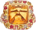 Estate Jewelry:Rings, Michael Beaudry Citrine, Diamond, Sapphire, Gold Ring. ...
