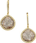Estate Jewelry:Earrings, Susan Foster Diamond, Gold Earrings. ...