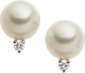 Estate Jewelry:Earrings, Mikimoto Cultured Pearl, Diamond, 18k White Gold Earrings. ...