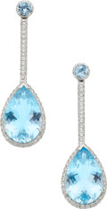 Estate Jewelry:Earrings, Topaz, Diamond, Gold Earrings. ...
