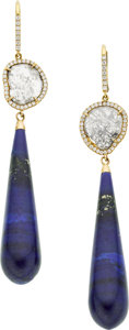 Estate Jewelry:Earrings, Susan Foster Diamond, Lapis Lazuli, Gold Earrings. ...