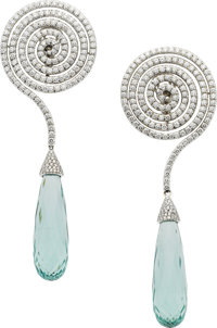 Adler Diamond, Aquamarine, White Gold Earrings