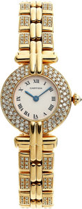"Art Glass:Daum, Cartier Lady's Diamond, Gold ""Colisee Collection""Wristwatch. ..."