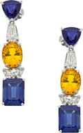 Estate Jewelry:Earrings, Naina Sapphire, Diamond, Gold Earrings. ...