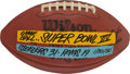 Football Collectibles:Balls, 1980 Super Bowl XIV Painted Game Ball - Steelers Vs. Rams....