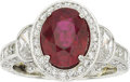 Estate Jewelry:Rings, Jack Kelége Burma Ruby, Diamond, Platinum Ring. ...