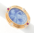 Estate Jewelry:Rings, Blue Hardstone Cameo, Ruby, Diamond, Gold Ring. ...