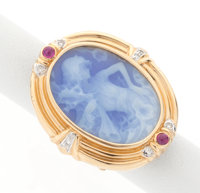 Blue Hardstone Cameo, Ruby, Diamond, Gold Ring