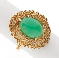Estate Jewelry:Rings, Chrysoprase, Gold Ring. ...