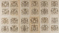 [Engraving]. Group of Twelve Heraldic Engravings. N.d. Measures 7.5 x 4.5 inches, loosely. Previously bound. Light to