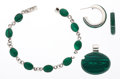 Estate Jewelry:Suites, Malachite, Sterling Silver Jewelry Suite. ... (Total: 3 Items)