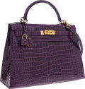 Luxury Accessories:Bags, Hermes 32cm Shiny Amethyst Porosus Crocodile Sellier Kelly Bag withGold Hardware. ...