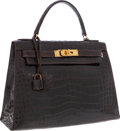 Luxury Accessories:Bags, Hermes 28cm Shiny Marron Fonce Caiman Crocodile Sellier Kelly Bagwith Gold Hardware. ...