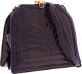 Luxury Accessories:Bags, Judith Leiber Shiny Purple Crocodile Shoulder Bag. ...
