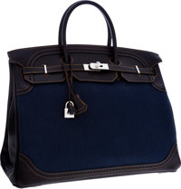 0505035367e8f Hermes Limited Edition 40cm Black Calf Box Leather  amp  Denim Ghillies  Birkin Bag with Brushed