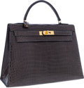 Luxury Accessories:Bags, Hermes 32cm Shiny Graphite Porosus Crocodile Sellier Kelly Bag withGold Hardware . ...