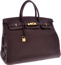 Luxury Accessories:Bags, Hermes 40cm Ebene Clemence Leather Birkin Bag with Gold Hardware....