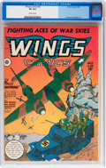 Golden Age (1938-1955):War, Wings Comics #35 (Fiction House, 1943) CGC VF 8.0 Off-whitepages....