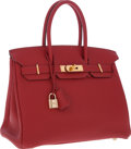 Luxury Accessories:Bags, Hermes 30cm Rouge Garance Clemence Leather Birkin Bag with GoldHardware. ...