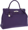 Luxury Accessories:Bags, Hermes 35cm Iris Togo Leather Retourne Kelly Bag with Palladium Hardware. ...
