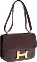 Luxury Accessories:Bags, Hermes 23cm Chocolate Calf Box Leather Constance Bag with GoldHardware. ...