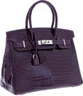 Luxury Accessories:Bags, Hermes 30cm Shiny Amethyst Porosus Crocodile Birkin Bag withPalladium Hardware. ...