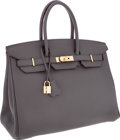 Luxury Accessories:Bags, Hermes 35cm Etain Clemence Leather Birkin Bag with Gold Hardware....