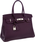 Luxury Accessories:Bags, Hermes 30cm Raisin Togo Leather Birkin Bag with Palladium Hardware....