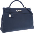 Luxury Accessories:Bags, Hermes 40cm Blue Abysse Fjord Leather Retourne Kelly Bag withPalladium Hardware. ...