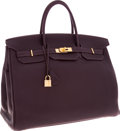 Luxury Accessories:Bags, Hermes Special Order Horseshoe 40cm Raisin & Black Togo LeatherBirkin Bag with Gold Hardware. ...