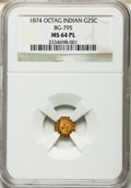 California Fractional Gold: , 1874 25C Indian Octagonal 25 Cents, BG-795, R.3, MS64 ProoflikeNGC. NGC Census: (7/10). ...
