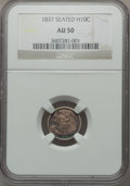 Seated Half Dimes: , 1837 H10C No Stars, Large Date (Curl Top 1) AU50 NGC. NGC Census:(23/919). PCGS Population (40/638). Mintage: 1,405,000. N...