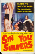 "Movie Posters:Sexploitation, Sin You Sinners (Joseph Brenner Associates, 1963). One Sheet (27"" X41"") & Photos (8) (8"" X 10""). Sexploitation.. ... (Total: 9Items)"