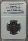 Seated Quarters: , 1840-O 25C Drapery -- Environmental Damage -- NGC Details. AU. NGCCensus: (3/46). PCGS Population (5/43). Mintage: 43,000....