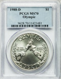 Modern Issues: , 1988-D $1 Olympic Silver Dollar MS70 PCGS. PCGS Population (60).NGC Census: (69). Mintage: 191,000. Numismedia Wsl. Price ...