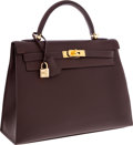 Luxury Accessories:Bags, Hermes 32cm Ebene Tadelakt Leather Sellier Kelly Bag with GoldHardware. ...