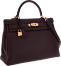 Luxury Accessories:Bags, Hermes 35cm Ebene Clemence Leather Retourne Kelly Bag with Gold Hardware. ...
