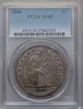 Seated Dollars: , 1846 $1 XF45 PCGS. PCGS Population (105/311). NGC Census: (64/302).Mintage: 110,600. Numismedia Wsl. Price for problem fre...