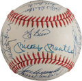 Baseball Collectibles:Balls, 1961 New York Yankees Multi Signed Reunion Baseball (31Signatures)....