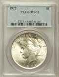 Peace Dollars: , 1922 $1 MS65 PCGS. PCGS Population (5771/624). NGC Census:(14463/1420). Mintage: 51,737,000. Numismedia Wsl. Price for pro...