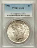 Peace Dollars: , 1922 $1 MS64 PCGS. PCGS Population (41457/6395). NGC Census:(79842/15877). Mintage: 51,737,000. Numismedia Wsl. Price for ...
