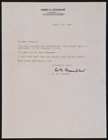 Baseball Collectibles:Others, 1985 Happy Chandler Signed Letter - Intriguing Baseball StrikeContent....