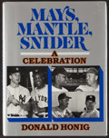 Baseball Collectibles:Publications, Mickey Mantle, Duke Snider and Willie Mays Multi Signed HardcoverBook....