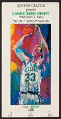 Basketball Collectibles:Others, 1993 Larry Bird Night Ticket....