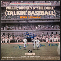 Willie Mays, Mickey Mantle and Duke Snider Signed Record Album Cover