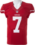 Football Collectibles:Uniforms, 2012 Colin Kaepernick Game Worn, Signed, Inscribed and Unwashed SanFrancisco 49ers Jersey - Worn Multiple Games, Including 12...