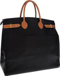 Luxury Accessories:Bags, Hermes Black Ardennes & Vache Naturelle Leather Airport Bag....