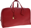 Luxury Accessories:Travel/Trunks, Hermes 50cm Rouge Vif Clemence Leather Victoria Travel Bag withGold Hardware. ...
