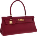 Luxury Accessories:Bags, Hermes 42cm Rubis Clemence Leather Shoulder Kelly Bag with Gold Hardware . ...